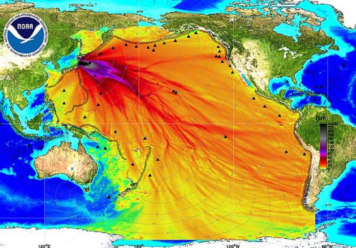 © NOAA - Mostra avanço da onda gerada no terremoto de 2011, no Japão